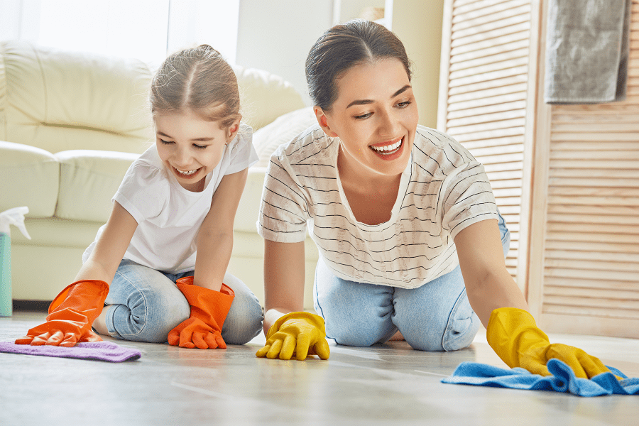 Family clean tile floors with Streak Free Recipe